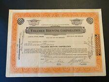 1933 VOLLMER BREWING CORP. Stock Certificate Philadelphia Rare Prohibition