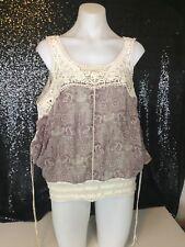Guess Ladies Size L or 12 Cold Shoulder Cut Out Lace Detail Top Excellent Cond