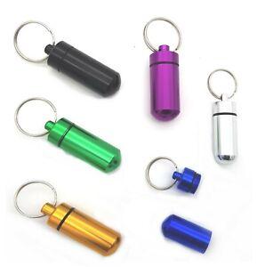 Aluminium cash pill CAPSULE waterproof money key ring tablet container emergency