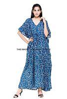 Long Caftan Women's Dress Beach Cover up Embellished Kaftan Plus Size Blue Maxi
