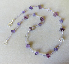 Handmade Amethyst and purple Rainbow Fluorite beaded necklace  N700