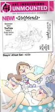 New ART IMPRESSIONS RUBBER STAMP Cling Set GIRLFRIENDS Stayin afloat swim summer