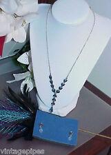 Avon Teardrop Blue Crystal Necklace Earring Set Post Stud Original Box
