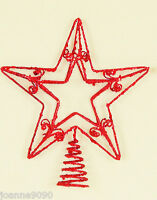 GLITTER STAR SHAPE SHAPED CHRISTMAS XMAS DECORATION TOPPER TOP 25CM SILVER GOLD