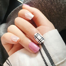 YUNAIL 24pcs Short Fake Nails Pink Silver Curved Acrylic Nail Tips Link Full
