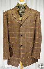 Black Rust Brown Orange Windowpane Wool Tweed Jacket Blazer POINTS MAN UK 42 R