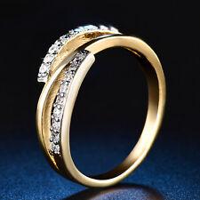 Wedding Jewelry 18K Multi-Tone Gold White Sapphire Gold Tone Band Ring Sz 6-9