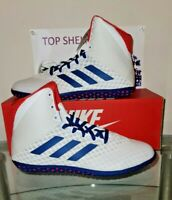 Adidas - BC0533 - Mat Wizard 4 - White Red Royal Blue - Size 7 - Wrestling Shoes