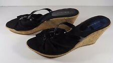 Nine West Women's Size 8.5 M Black Wedge Sandals Excellent Condition