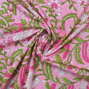 Pink Hand Block Print By The Meter Indian 100% Cotton Women Dress Craft Fabric