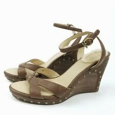 UGG Australia STRAPPY Slingback Open Toe Wedge Heels 7 W Ankle Strap Brown