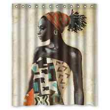Cartoon African Woman Waterproof Bathroom Shower Curtain 60 x 72 Inch
