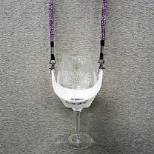 White Hands Free Wine Glass Holder with Pink Bling  x 2 sets