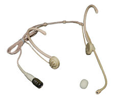 Foldable Double Earhook Omnidirectional Headset Mic for Audio Technica Beige