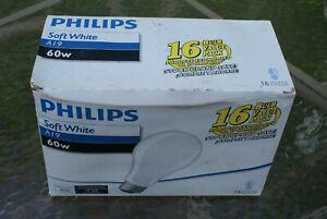 (16) PACK OF PHILIPS 60 WATT INCANDESCENT LIGHT BULBS. A19 SOFT WHITE