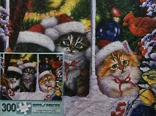 """CHRISTMAS CATS IN THE WINDOW-300 LARGE PC PUZZLE-BITS & PIECES-18""""X24"""" COMPLETE"""