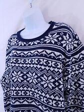 Van Heusen NWOT Womens XXL Knitted Sweater Navy Blue White Long Sleeve