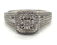 Vintage Sterling Silver Ring 925 Size 9.5 CZ Halo Band