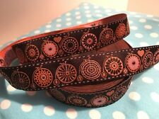 """Jacquard Woven Ribbon Trim """"Bicycle Love"""" Brown Pink by Lillestoff on SALE"""