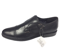 Black Label Mens Leather Wide Fit Formal Buckle Brogue Monk Shoes Size UK 14 New