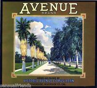 Avenue Citrus Fruit Orange Crate Label Art Print Victoria packing RiversIde CA