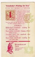 "Penobscot Inn Detroit ""Somebody's Waiting For You"" Shook Postcard - Item #PC19"