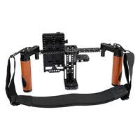 """CAMVATE 5"""" 7"""" LCD Monitor Cage kit+Strap+V-lock Power Supply Splitter fr battery"""