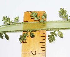 """1 1/2"""" Oak Leaf & BELLOTA Ajuste-Verde Musgo Organza y satinado Cortar Hojas Cinta"""