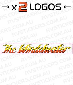 2 x WINDSOR Windcheater l Caravan decal, sticker, vintage, graphics 570mm x 80mm