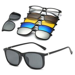 5 in1 Men's Polarized Sunglasses Magnetic Lens Swappable Frame Retro Sun Glasses