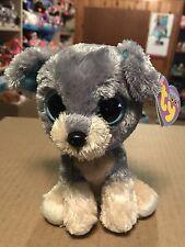 "Ty SCRAPS -Grey/Beige Schnauzer Dog 6"" Beanie Boo! *Retired* RARE & VHTF!!"