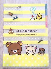 NEW SAN-X Rilakkuma A4 5 pockets Clear files folder Plastic slip folder KAWAII