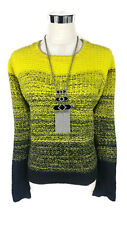 LOVELY GIRL Knitted Jumper - Ombre Fluoro Boho Knit Acid Yellow Black - L/12/14