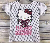 H&M Hello Kitty T-Shirt Girls Size 6/8 White Black Polka Dot Short Sleeve