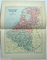 Original 1895 Map of The Netherlands & Belgium by  W & A.K. Johnston. Antique