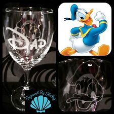 Personalised Disney Donald Duck Wine Glass Handmade Gift Any Name Engraved Free!