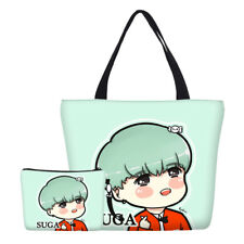 Women Canvas Shopping Bag BTS Suga Large Tote Bag Coin Pouch Daily Valued Sets