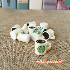 10Pcs Dollhouse Miniature Starbucks Coffee Cups Mugs Scale Model White