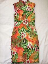 Rare Vintage Dolce & Gabbana D&G Orange Floral Satin Chinese Cheongsam Dress 42