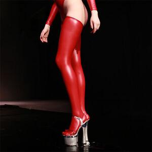 Latex Rubber Stockings Thigh High Sexy Women Men Wet Look Spandex Dance Leggings