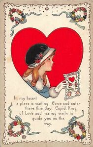 H66/ Valentine's Day Love Holiday Postcard c1910 Pretty Girl Heart 19