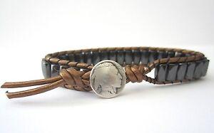 Great Gift Men's Golf Sports Bracelet Bronze Leather Black Magnetic Indian