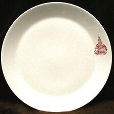 "Set 4 SYRACUSE SYRALITE 10 1/2"" Coupe RESTAURANTWARE Dinner Plates Red Building"
