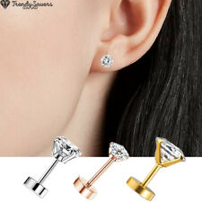 High Quality Screw Back Stainless Steel Tragus Stud Earrings Women Men Round CZ