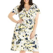 Estelle Womens   Floral Print Ruffled Midi Wrap Dress Plus BHFO 0698