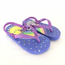 Cat & Jack Toddler Girls Kiera Flip Flop Sandals Rainbow Sun Purple Size M 7/8