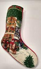 Vtg Wool & Velvet Needlepoint Christmas Stocking Dickens Street Scene Carolers