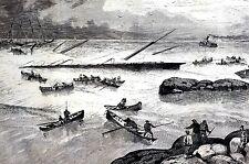 Nova Scotia Canada 1873 WRECK of STEAMSHIP ATLANTIC Seascape Rowboats Tugboat