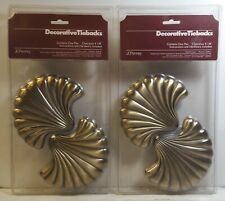 "2 Pair Of New JC Penney Decorative Tiebacks Antique Gold Sea Shell 5.5"" x 4.5 """