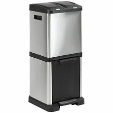 HARTLEYS TRIPLE COMPARTMENT STAINLESS RUBBISH WASTE RECYCLING KITCHEN PEDAL BIN